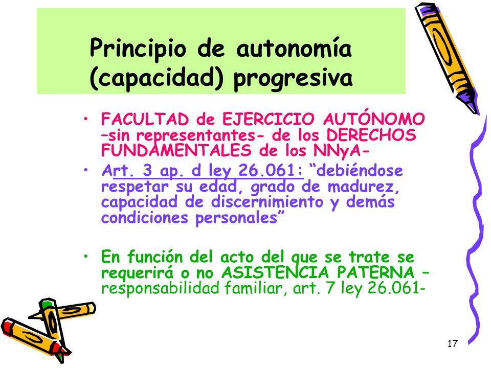 Principio de autonomía (capacidad) progresiva