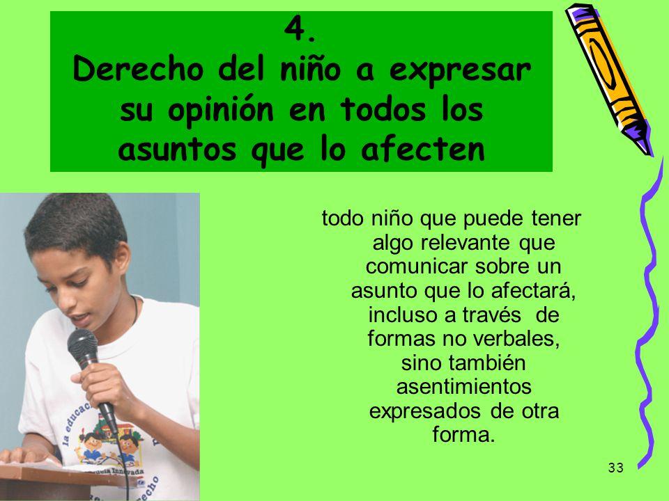 4. Derecho del niño a expresar su opinión en todos los asuntos que lo afecten