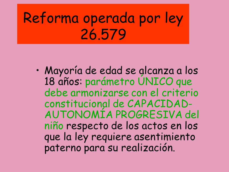 Reforma operada por ley 26.579