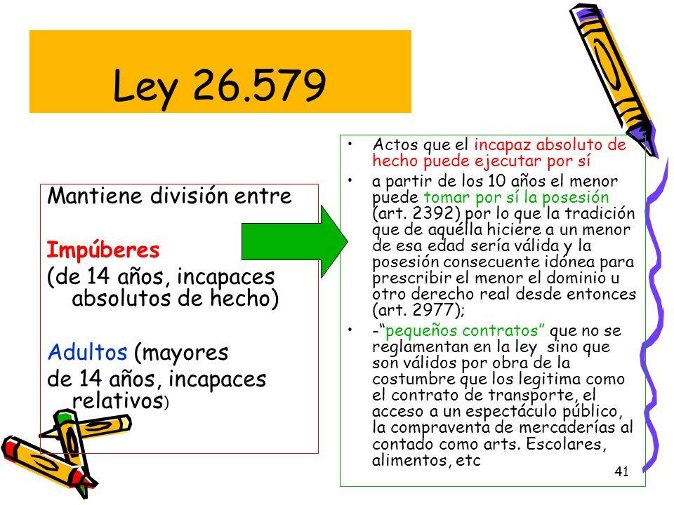 Ley 26.579 Mantiene división entre Impúberes