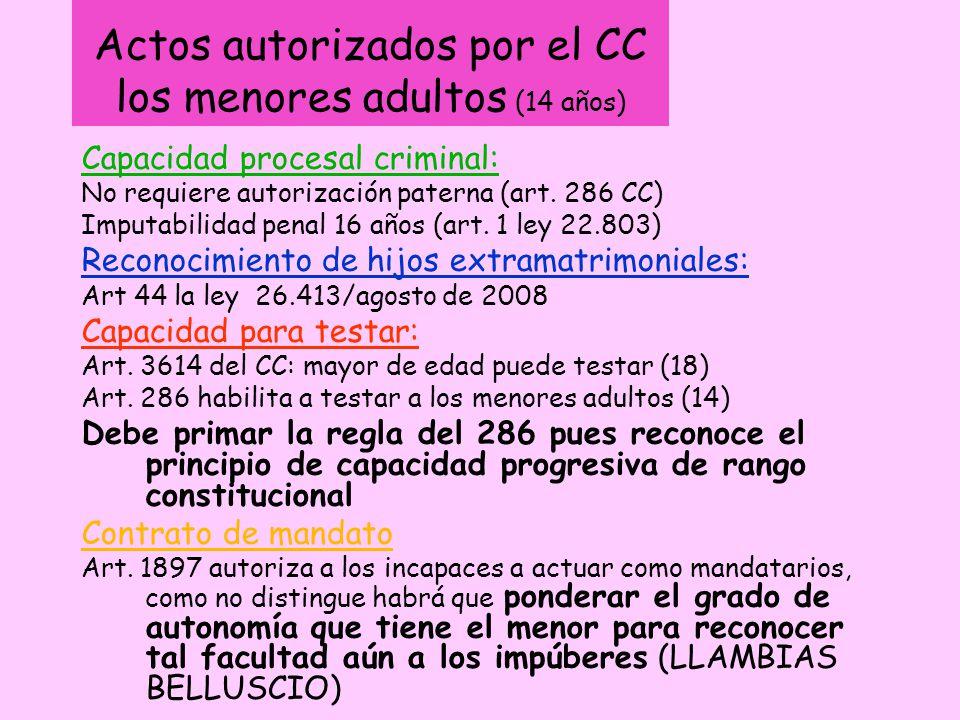 Actos autorizados por el CC los menores adultos (14 años)