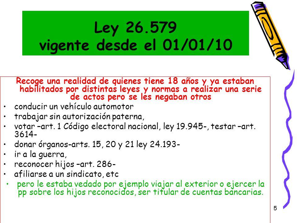 Ley 26.579 vigente desde el 01/01/10