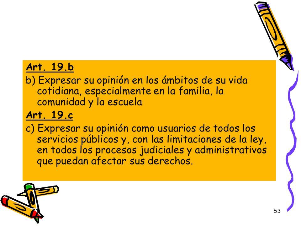Art. 19.b b) Expresar su opinión en los ámbitos de su vida cotidiana, especialmente en la familia, la comunidad y la escuela.