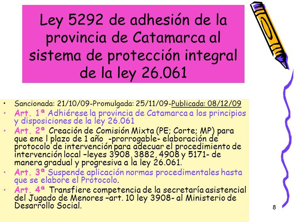 Ley 5292 de adhesión de la provincia de Catamarca al sistema de protección integral de la ley 26.061