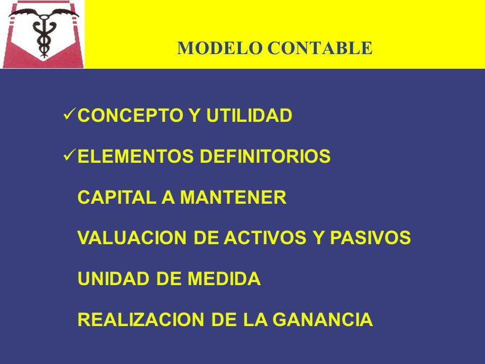 MODELO CONTABLE CONCEPTO Y UTILIDAD. ELEMENTOS DEFINITORIOS. CAPITAL A MANTENER. VALUACION DE ACTIVOS Y PASIVOS.