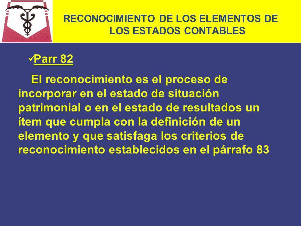 RECONOCIMIENTO DE LOS ELEMENTOS DE LOS ESTADOS CONTABLES