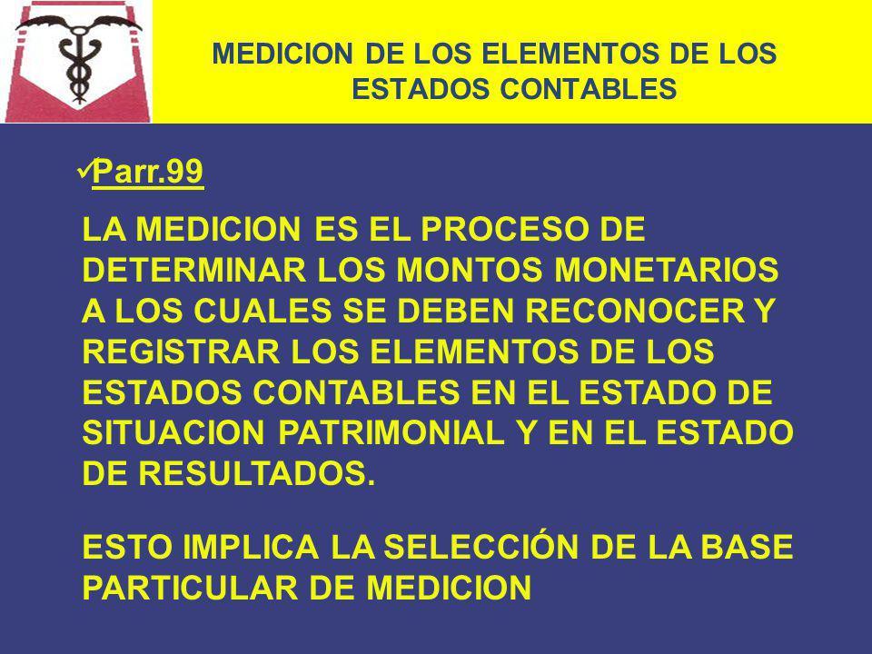 MEDICION DE LOS ELEMENTOS DE LOS ESTADOS CONTABLES