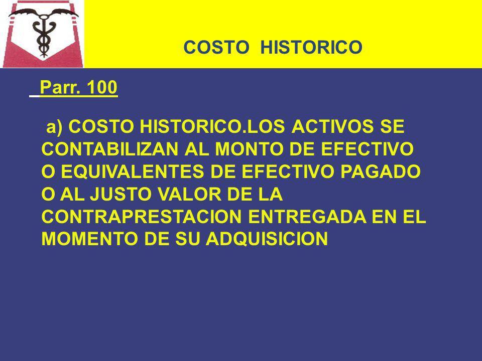 COSTO HISTORICO Parr. 100.