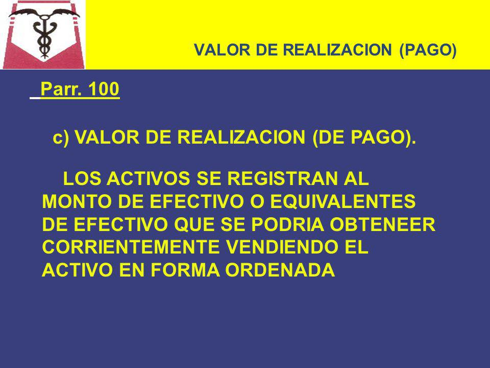 VALOR DE REALIZACION (PAGO)