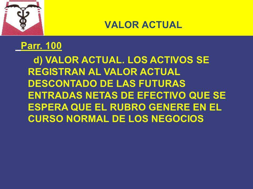 VALOR ACTUAL Parr. 100.