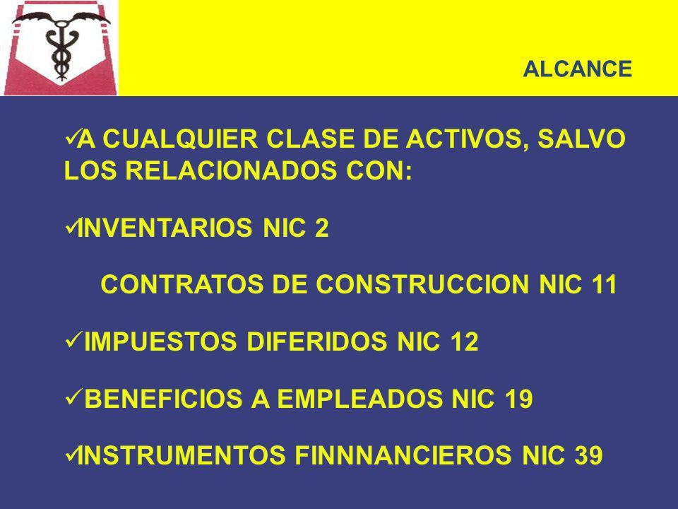 A CUALQUIER CLASE DE ACTIVOS, SALVO LOS RELACIONADOS CON: