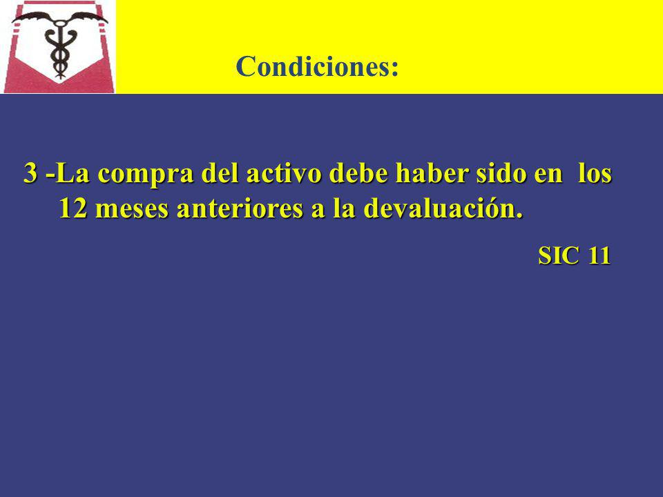 Condiciones: 3 -La compra del activo debe haber sido en los 12 meses anteriores a la devaluación.
