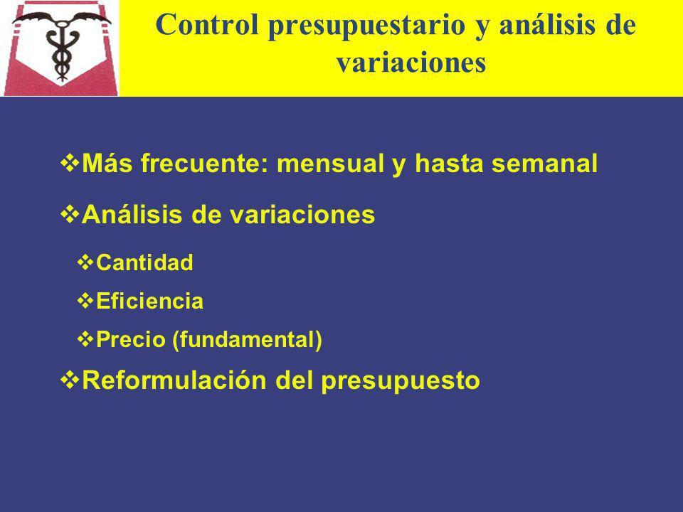 Control presupuestario y análisis de variaciones