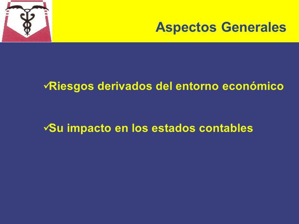 Aspectos Generales Riesgos derivados del entorno económico