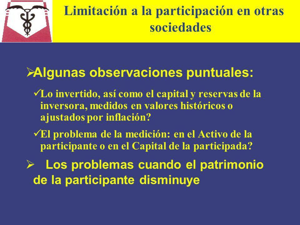 Limitación a la participación en otras sociedades