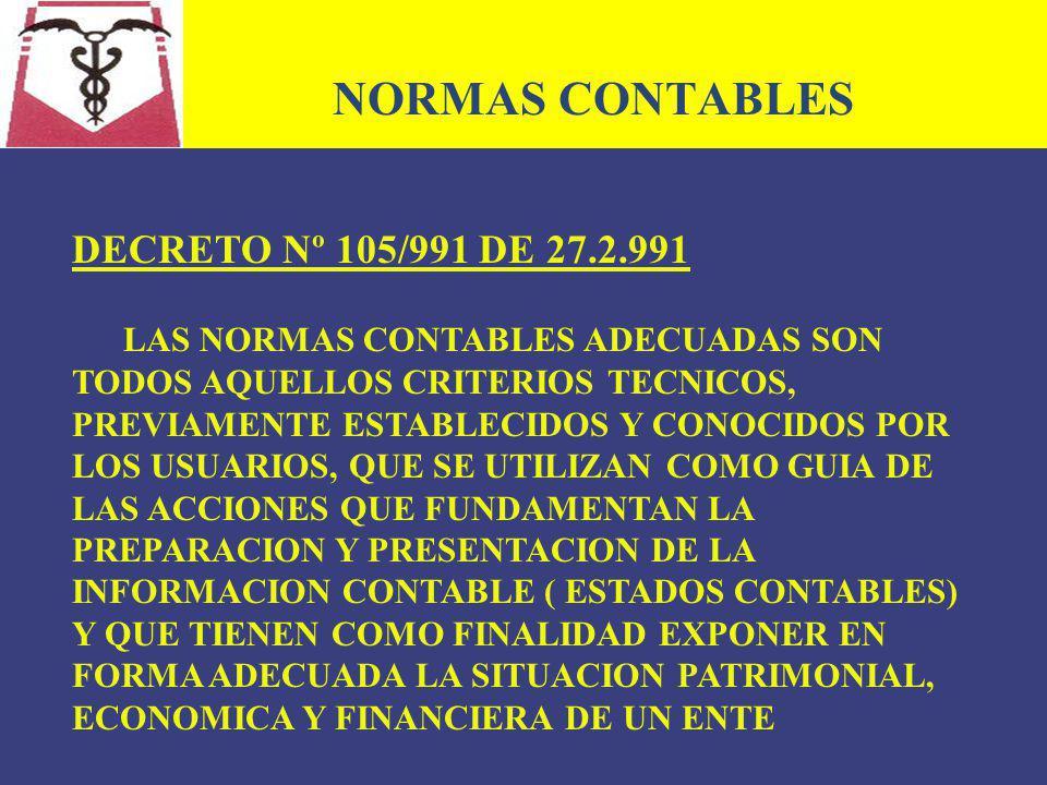 NORMAS CONTABLES DECRETO Nº 105/991 DE 27.2.991