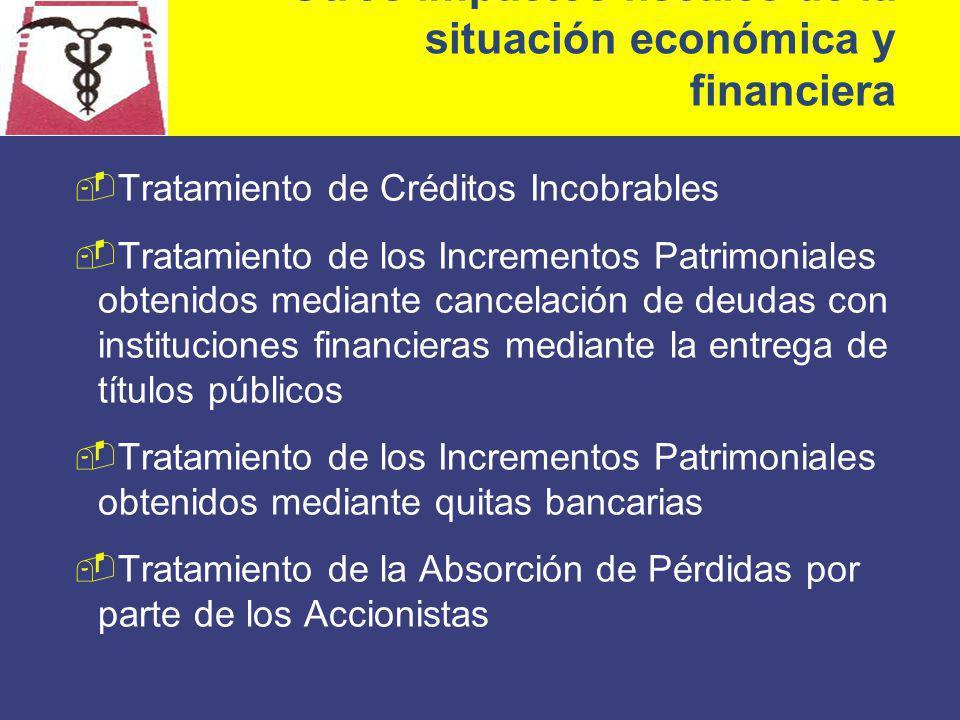 Otros impactos fiscales de la situación económica y financiera