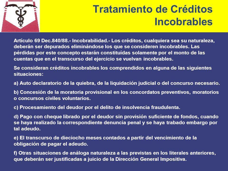 Tratamiento de Créditos Incobrables