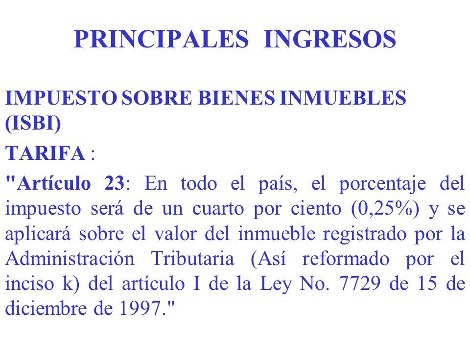 PRINCIPALES INGRESOS IMPUESTO SOBRE BIENES INMUEBLES (ISBI) TARIFA :