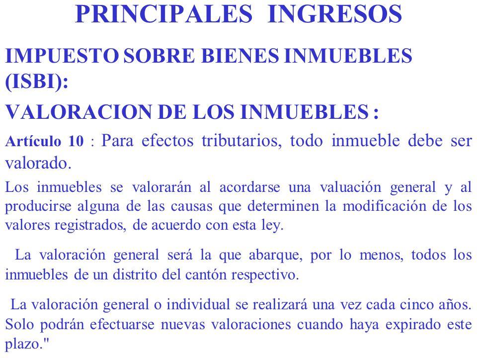 PRINCIPALES INGRESOS IMPUESTO SOBRE BIENES INMUEBLES (ISBI):