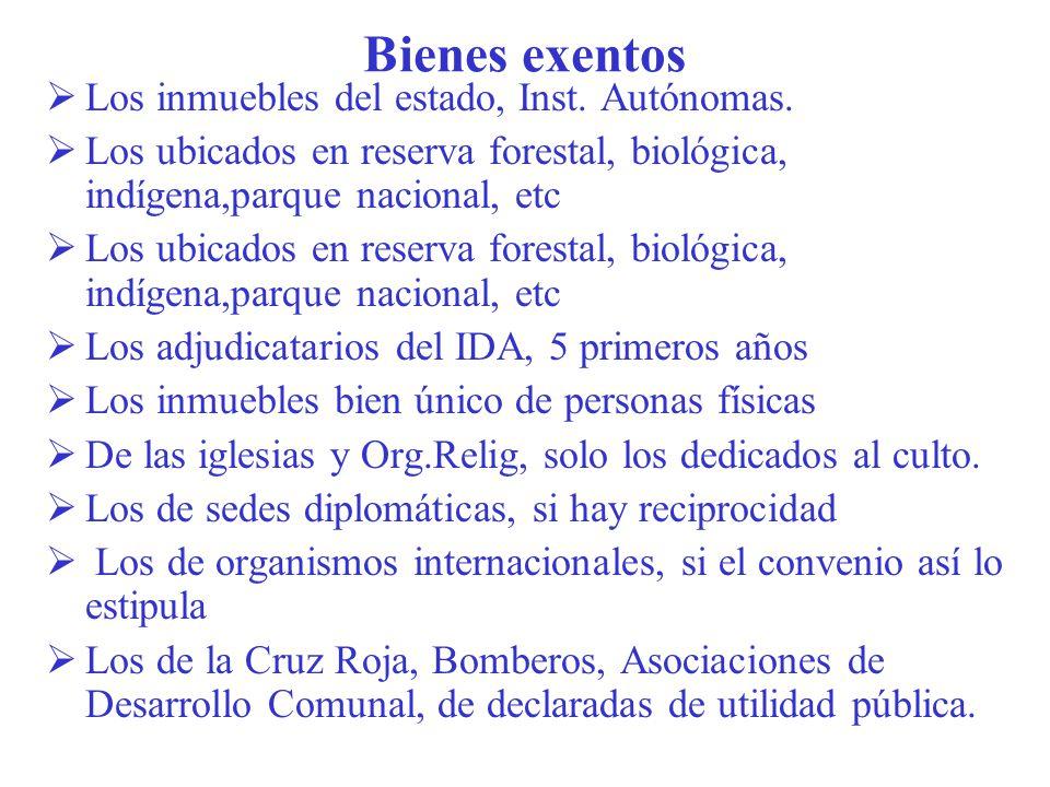 Bienes exentos Los inmuebles del estado, Inst. Autónomas.