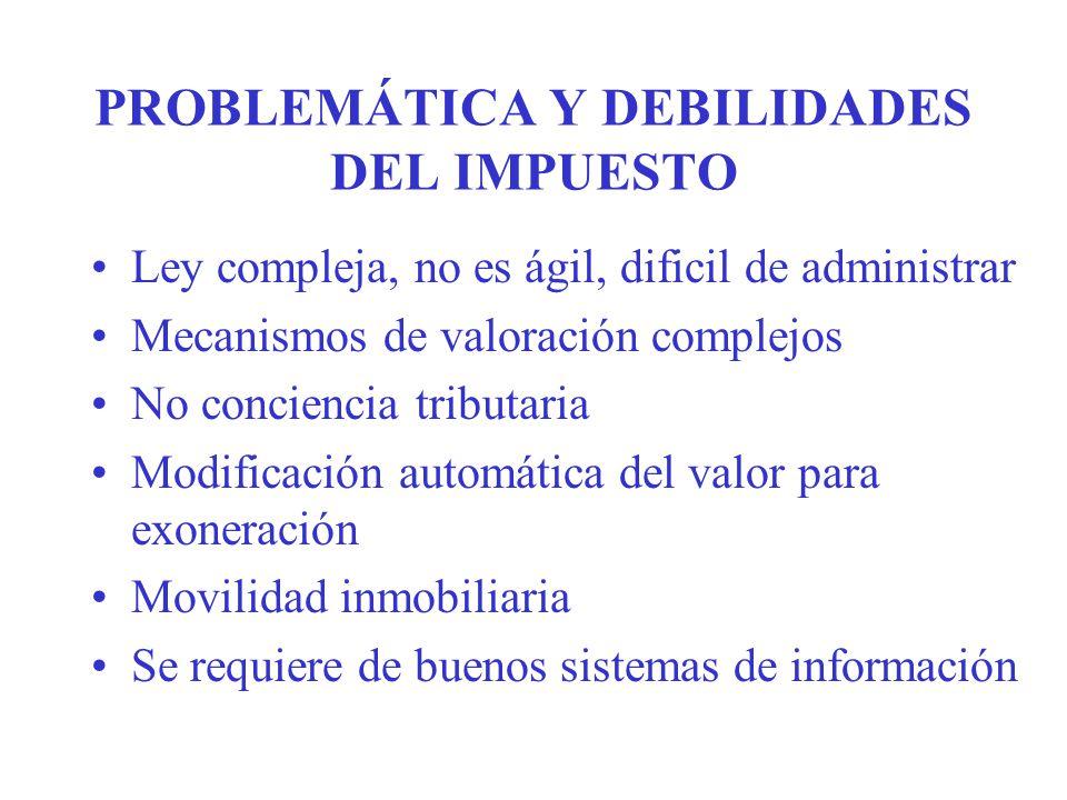 PROBLEMÁTICA Y DEBILIDADES DEL IMPUESTO