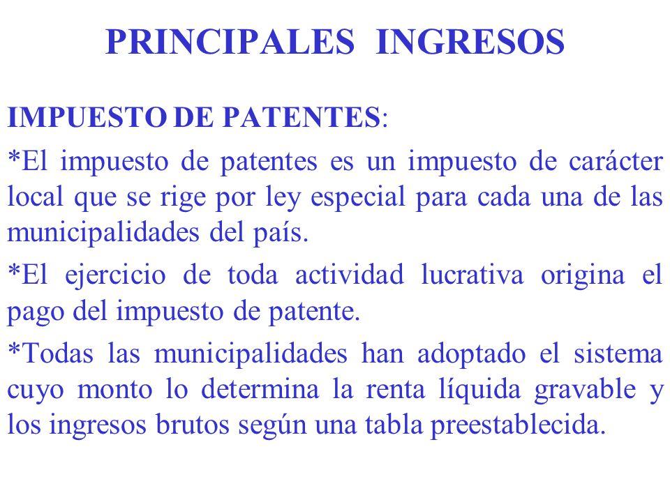 PRINCIPALES INGRESOS IMPUESTO DE PATENTES: