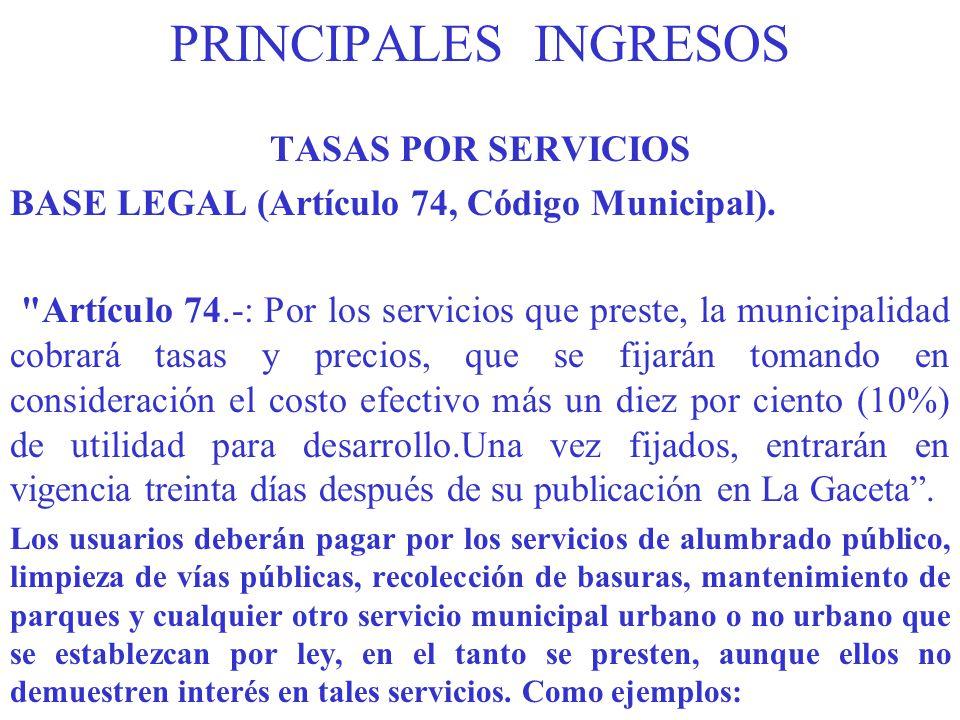 PRINCIPALES INGRESOS TASAS POR SERVICIOS