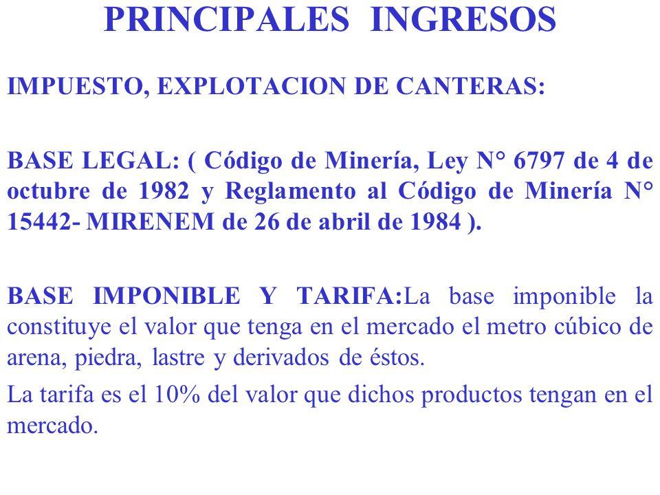 PRINCIPALES INGRESOS IMPUESTO, EXPLOTACION DE CANTERAS: