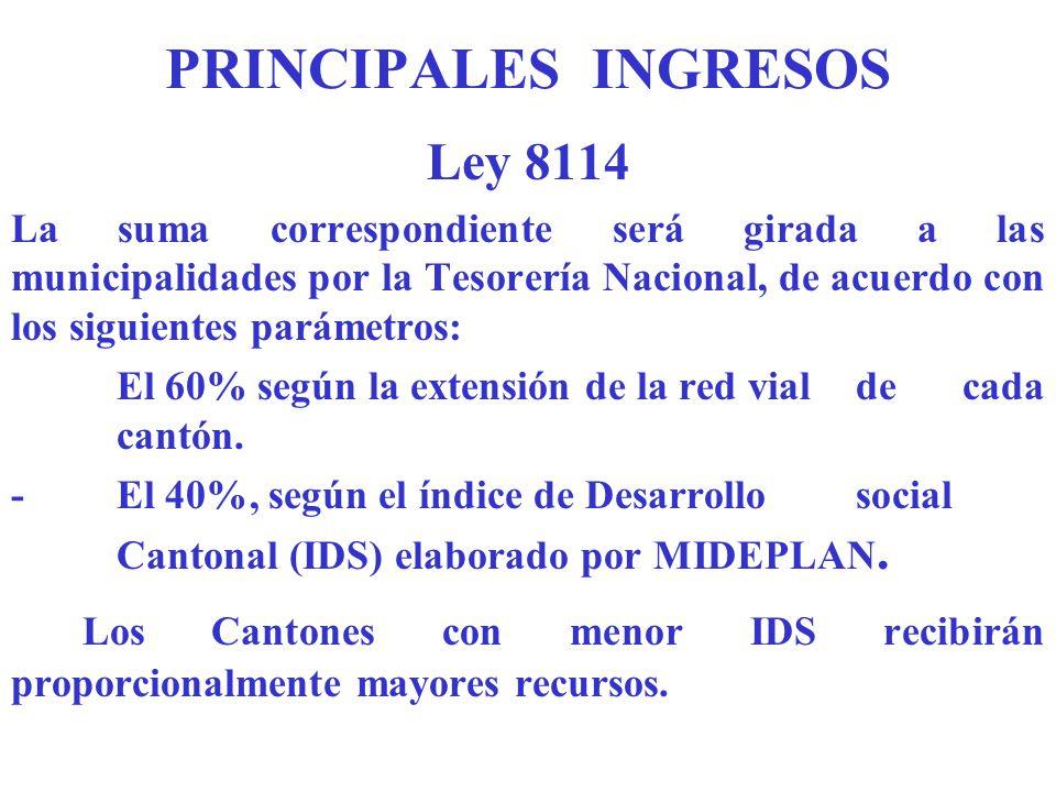 PRINCIPALES INGRESOS Ley 8114