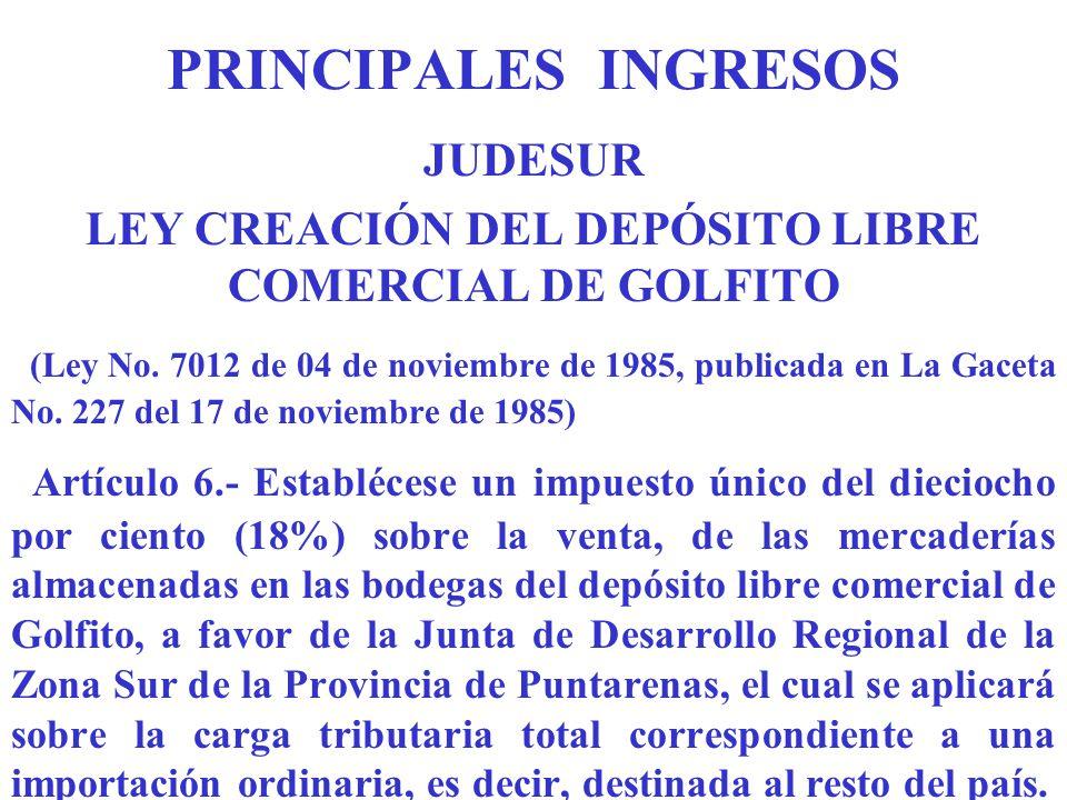 LEY CREACIÓN DEL DEPÓSITO LIBRE COMERCIAL DE GOLFITO