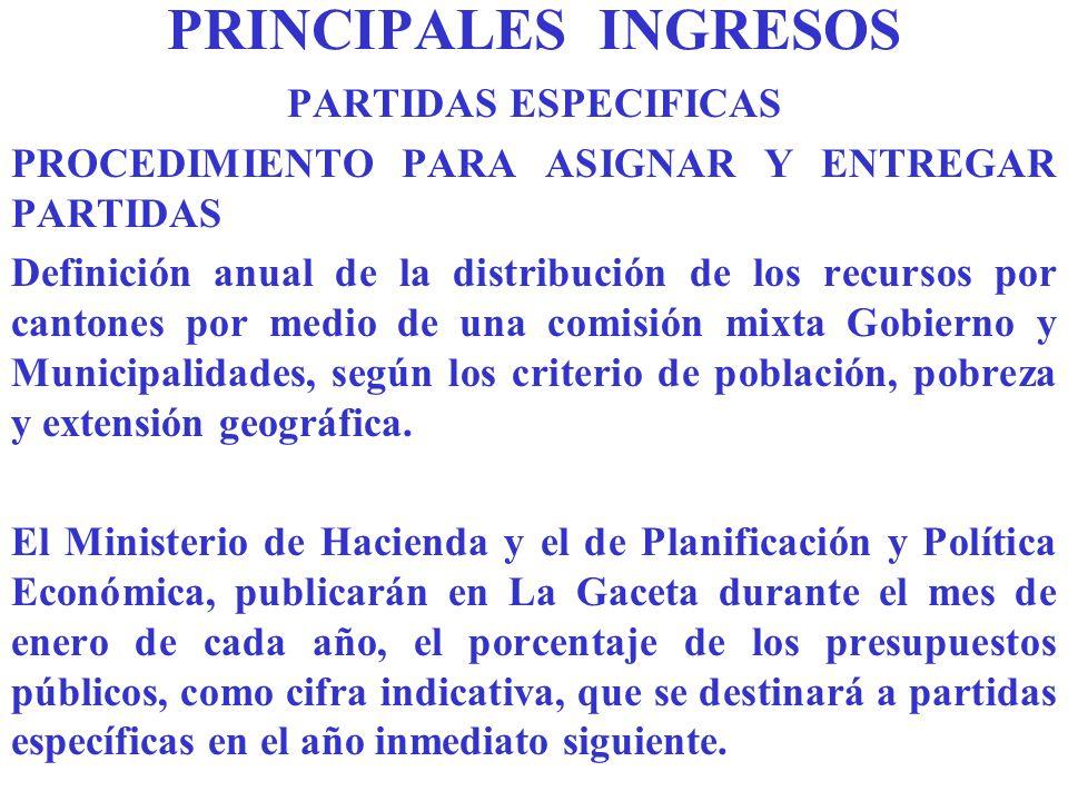 PRINCIPALES INGRESOS PARTIDAS ESPECIFICAS
