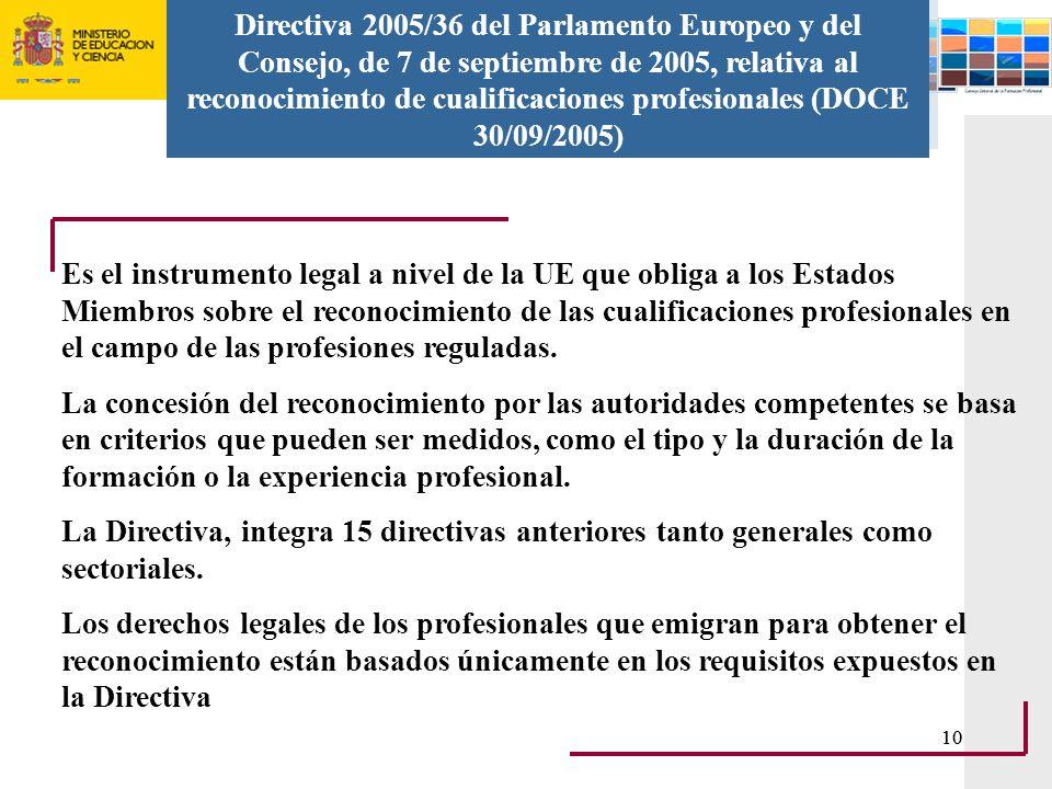 Directiva 2005/36 del Parlamento Europeo y del Consejo, de 7 de septiembre de 2005, relativa al reconocimiento de cualificaciones profesionales (DOCE 30/09/2005)