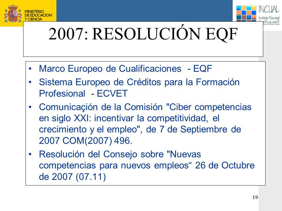 2007: RESOLUCIÓN EQF Marco Europeo de Cualificaciones - EQF