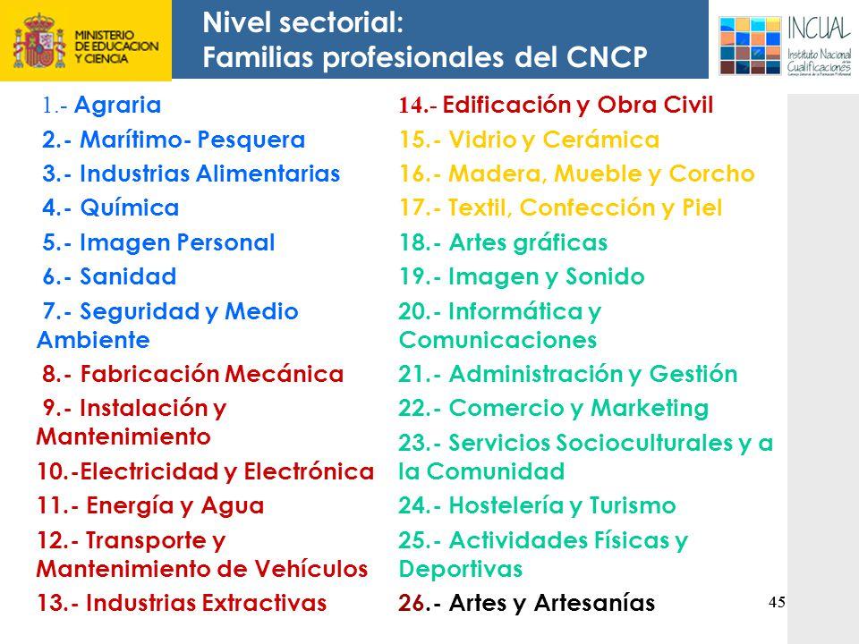 Familias profesionales del CNCP