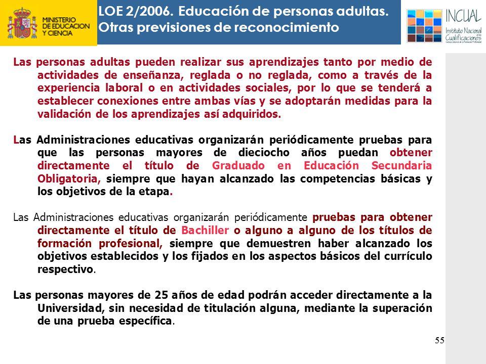 LOE 2/2006. Educación de personas adultas