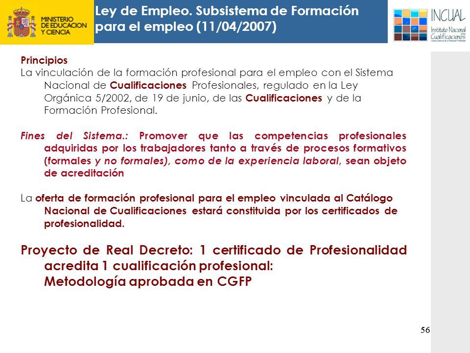 Ley de Empleo. Subsistema de Formación para el empleo (11/04/2007)