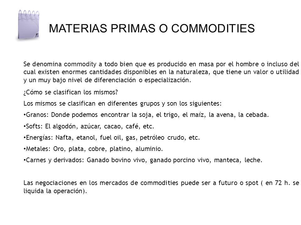 MATERIAS PRIMAS O COMMODITIES