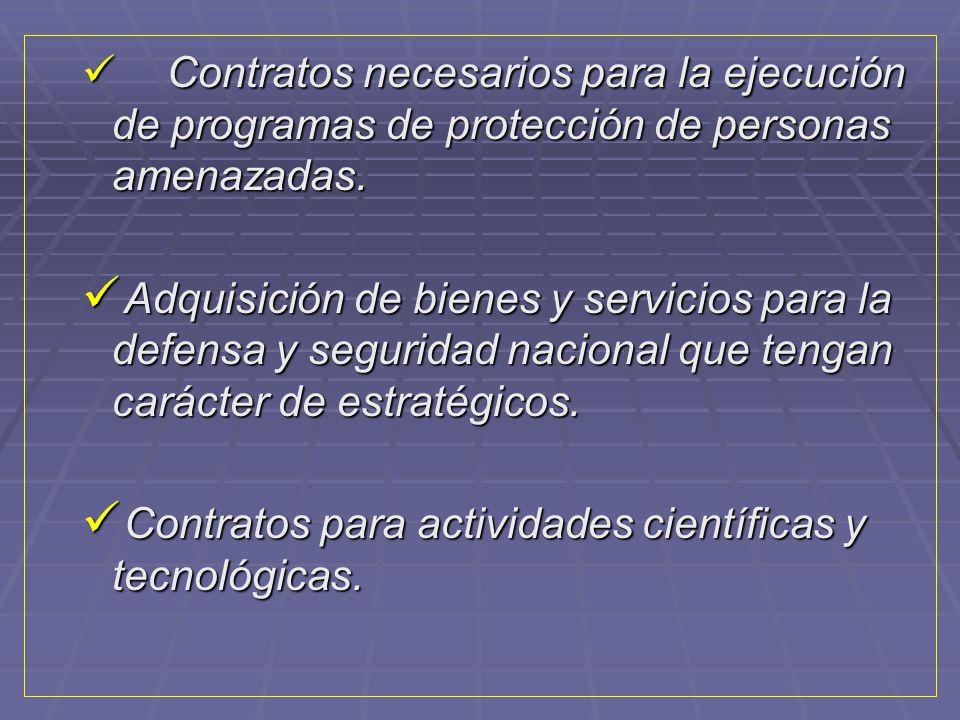 Contratos para actividades científicas y tecnológicas.