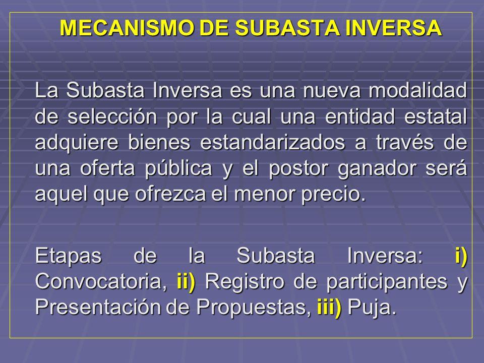 MECANISMO DE SUBASTA INVERSA