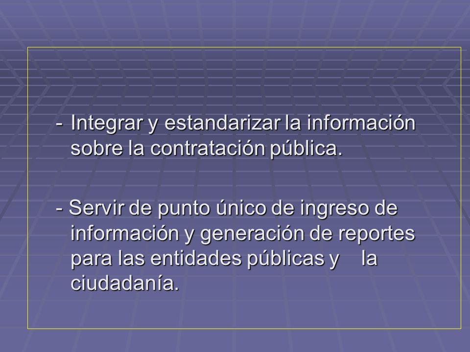 Integrar y estandarizar la información sobre la contratación pública.