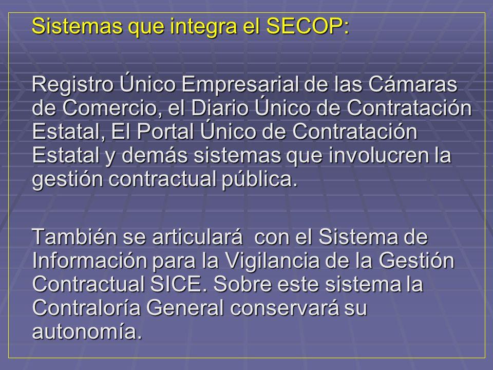 Sistemas que integra el SECOP: