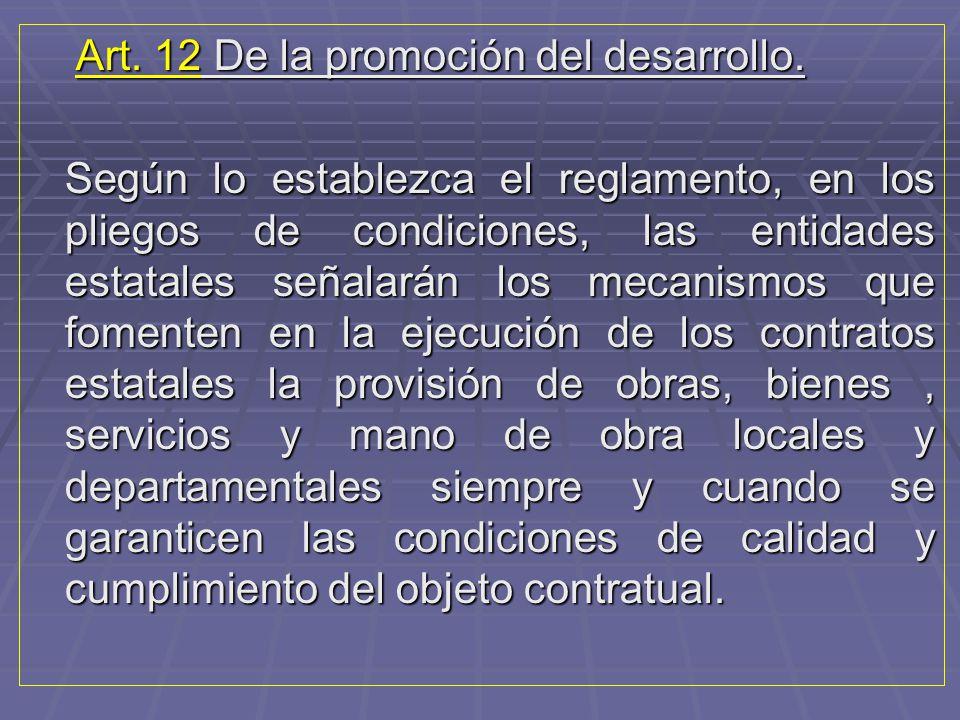 Art. 12 De la promoción del desarrollo.