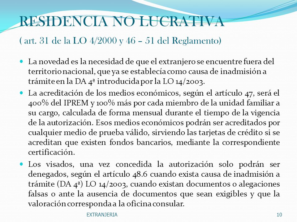 RESIDENCIA NO LUCRATIVA ( art