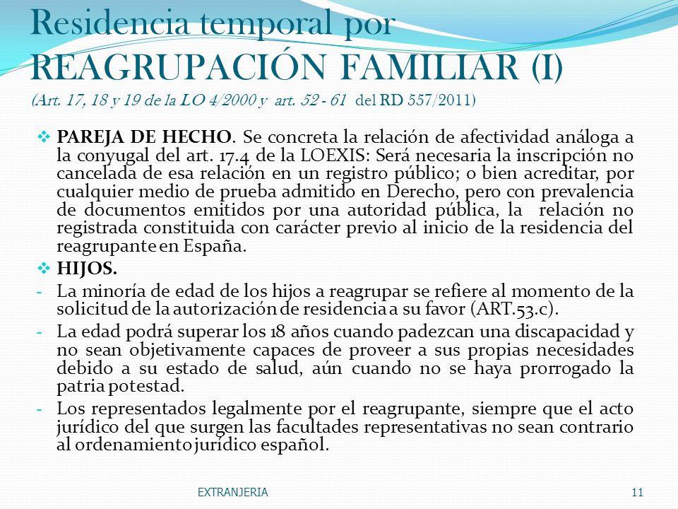 Residencia temporal por REAGRUPACIÓN FAMILIAR (I) (Art