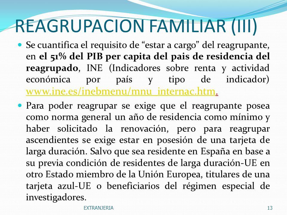 REAGRUPACION FAMILIAR (III)