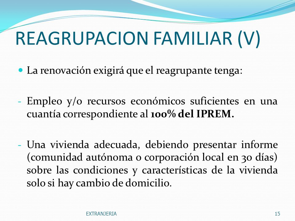 REAGRUPACION FAMILIAR (V)