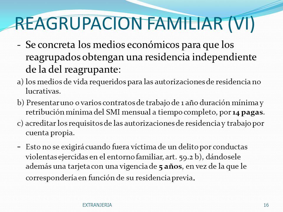 REAGRUPACION FAMILIAR (VI)