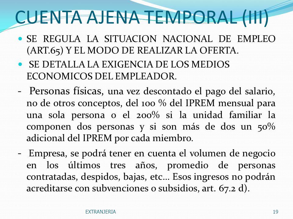 CUENTA AJENA TEMPORAL (III)