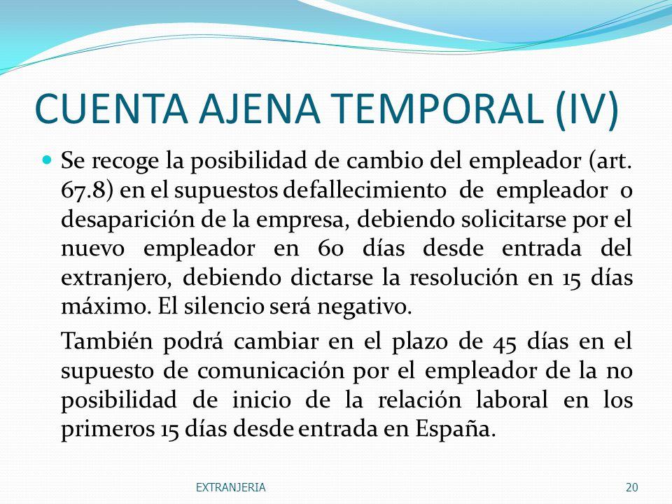 CUENTA AJENA TEMPORAL (IV)